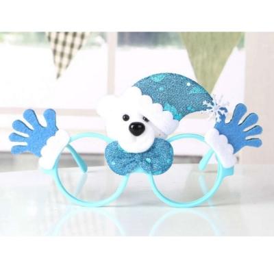 摩達客 聖誕派對造型眼鏡-藍雪人雙手