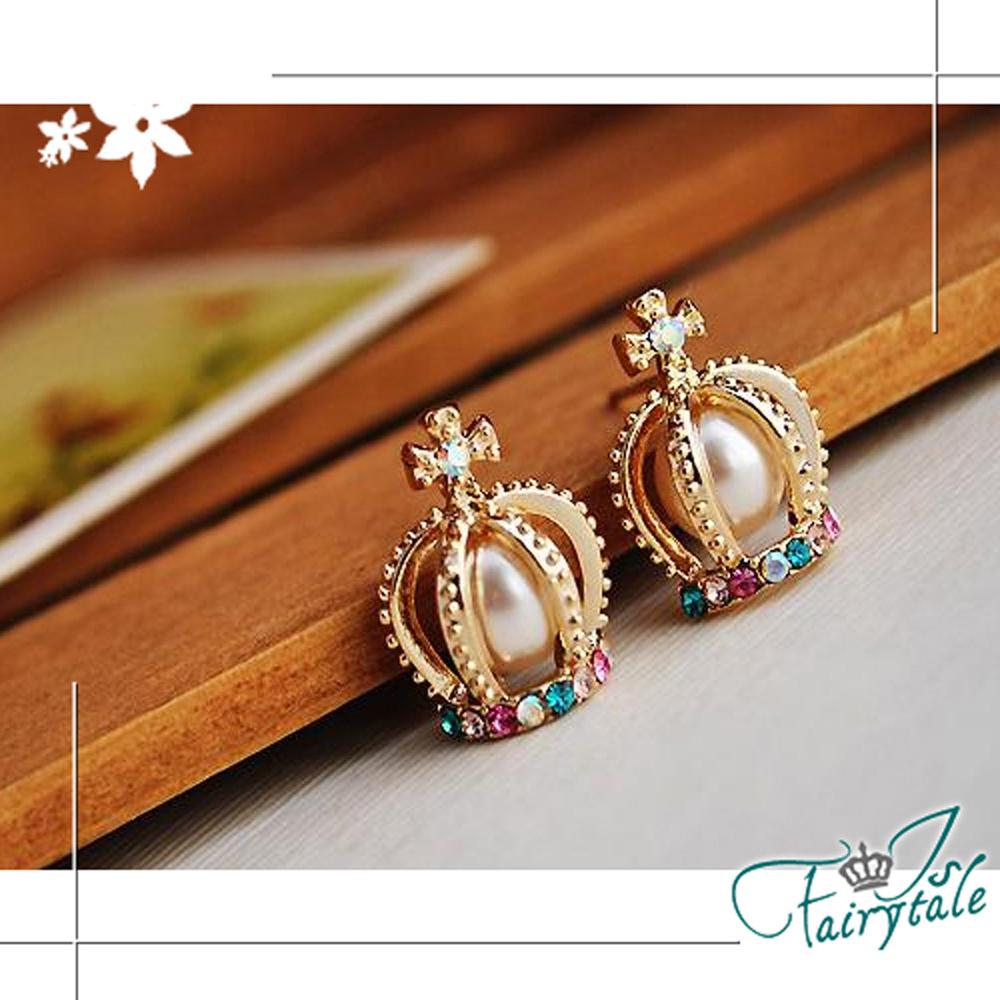 iSFairytale伊飾童話 彩鑽皇冠 宮廷珍珠耳環