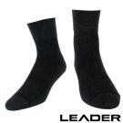 LEADER 除臭去味 紳士素面短筒寬口襪 黑色