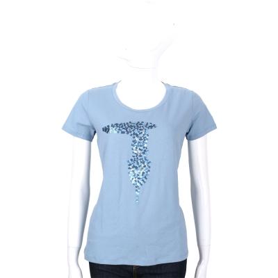 TRUSSARDI 灰藍色亮片LOGO棉質短袖T恤