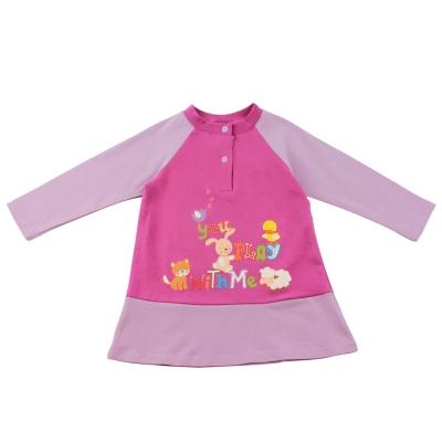 愛的世界-MYBEAR-歡樂嬉遊拚接長袖上衣-2-3歲-台灣製