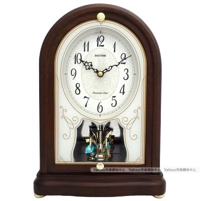 RHYTHM麗聲 復古彩繪玻璃整點報時水晶座鐘/31cm