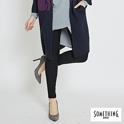 SOMETHING 五袋窄直筒合身保溫牛仔褲-女-黑色