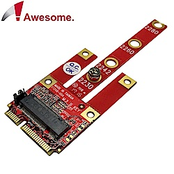 Awesome M.2 B Key(USB2.0/PCIe/SATA)轉mPCIe轉接卡