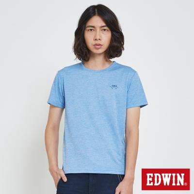 EDWIN 涼感圓領LOGO印花T恤-男-藍色