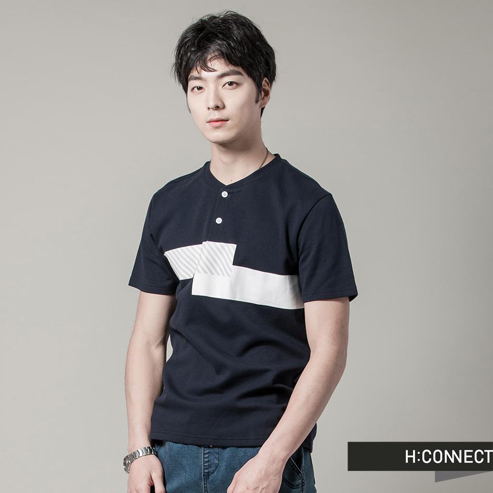 H:CONNECT 韓國品牌 男裝 - 城市感拼接上衣 - 深藍