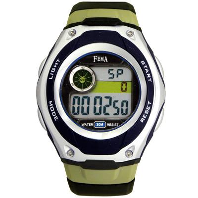 FEMA 帥氣隨性 計時鬧鈴 數位運動錶(P205)-黑x銀/34mm