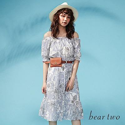beartwo 熱情花卉綁結長版洋裝(藍色)