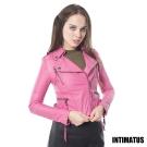 【真皮皮衣】時尚修身小羊皮皮衣 -桃紅色 INTIMATUS