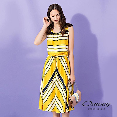 OUWEY歐薇 綁帶造型條紋長版背心洋裝(黃)
