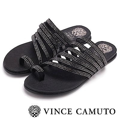 Vince Camuto 羅馬經典水鑽平底拖-絨黑