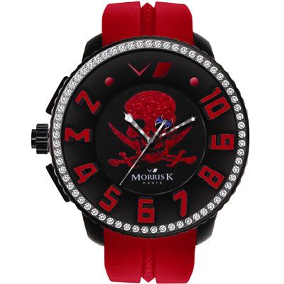 MORRIS K 骷顱頭 逆跳指針晶鑽休閒錶-黑x紅/45mm