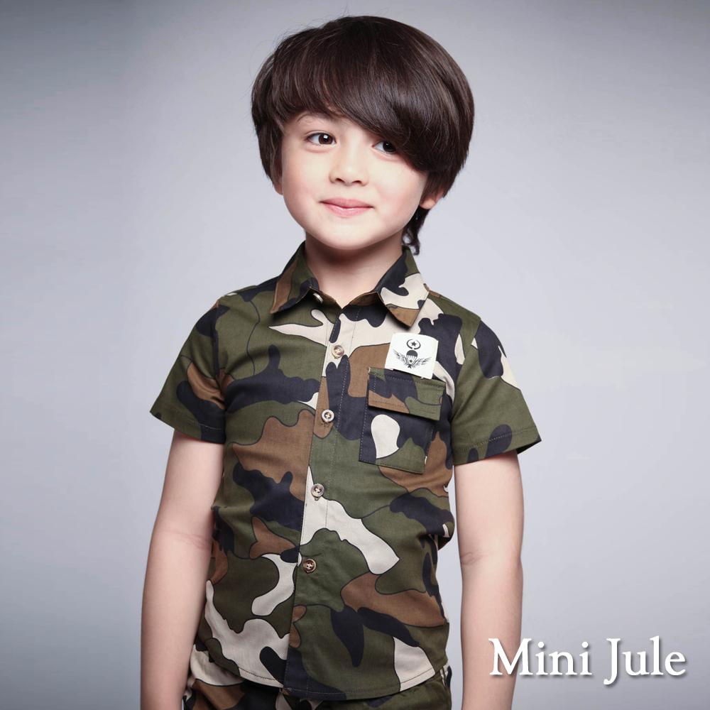 Mini Jule-襯衫 迷彩風星星翅膀縫布單口袋襯衫(軍綠)