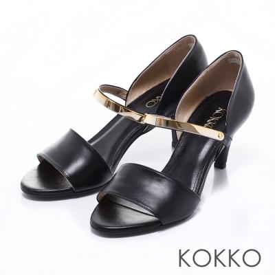 KOKKO真皮手工性感拼接金屬魚口跟鞋黑