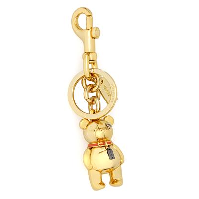 COACH暖冬立體小熊圓型掛式雙扣環鑰匙圈