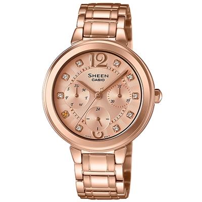 SHEEN 華麗之美水晶時刻玫瑰金腕錶(SHE-3048PG-9)/全玫瑰金34mm