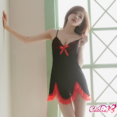 Caelia 魅惑黑紅柔緞睡衣