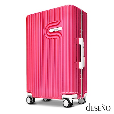 Deseno 法式工藝陶瓷款24吋PC光鏡細鋁框行李箱-玫紅