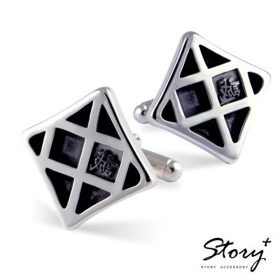 STORY故事銀飾-鉛字訂製925純銀袖扣-雪印