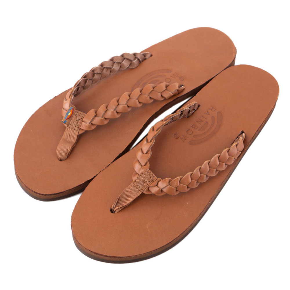 Rainbow Sandals美國全真皮夾腳編織休閒拖鞋-駝色