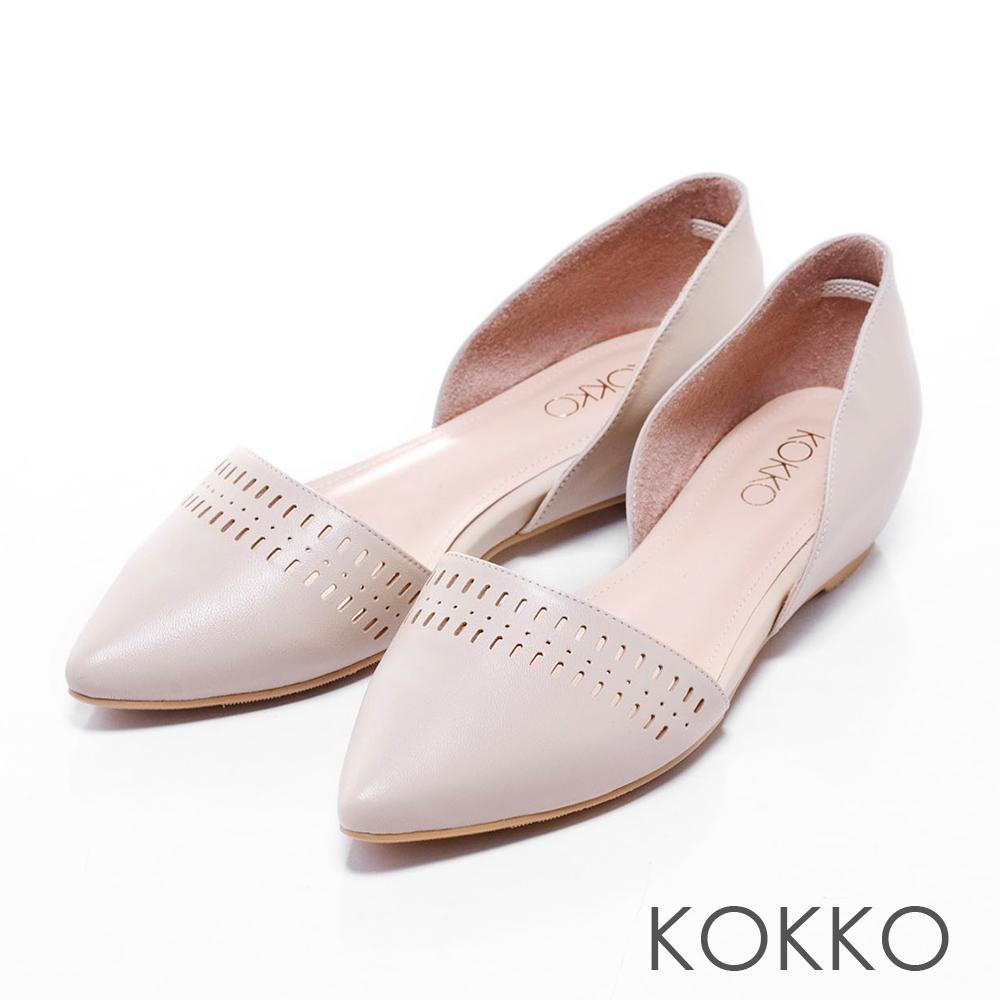 KOKKO真皮手工 - 尖頭浪漫縷空內增高平底鞋 - 米