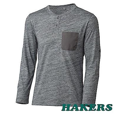 【HAKERS】男-抗UV圓領半開襟長袖衫-灰色