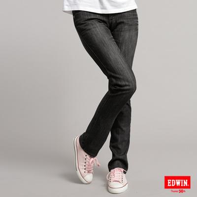【EDWIN】MISS EDWIN 內襯拼格伸縮直筒保溫褲-女款(灰色)