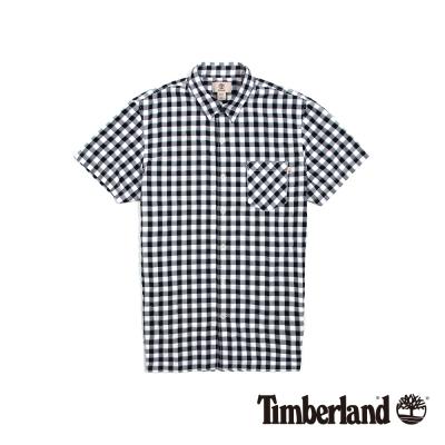Timberland 男款黑白正方格紋休閒短袖襯衫