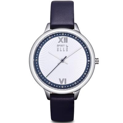 ELLE 柔美晶鑽羅馬時標皮革腕錶-銀/深藍-38mm