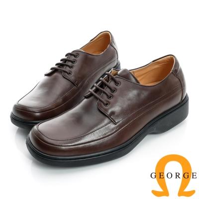 GEORGE-素面加厚底綁帶真皮方頭鞋-咖啡色