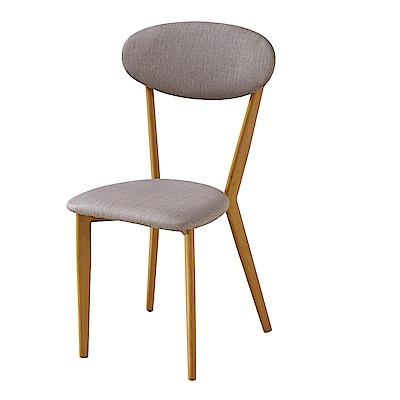 AT HOME-經典木質本色灰皮餐椅 45x45x90cm