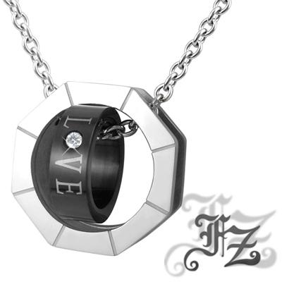 FZ  摯愛情人白鋼項鍊(黑色)