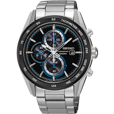 SEIKO Criteria 時尚炫彩太陽能計時碼錶(SSC401P1)-黑/43mm