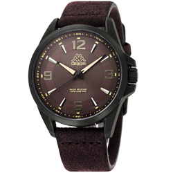 Kappa 逆光時刻經典時尚腕錶-咖啡/45mm