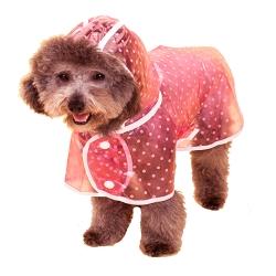 【摩達客寵物】寵物貓狗雨衣-透明白圓點(粉紅色)