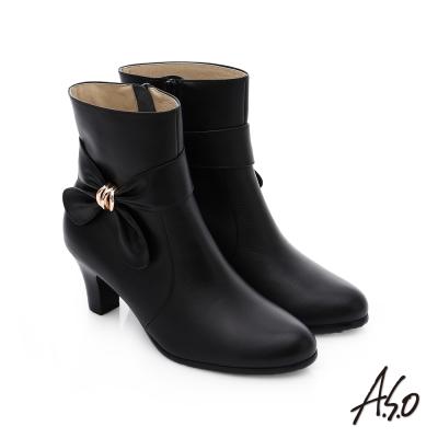 A.S.O 優雅時尚 立體蝴蝶結飾奈米中筒靴 黑色