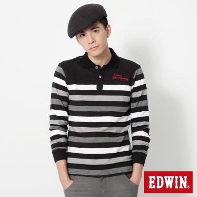 EDWIN 提織條紋長袖POLO衫-男-黑色