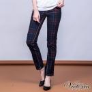 Victoria 低腰格紋印花小直筒褲-女-深藍格