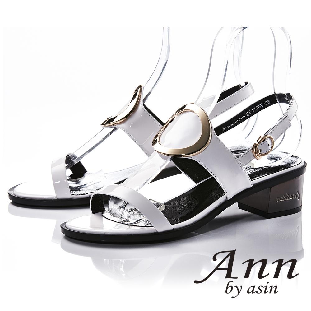 Ann by asin獨立性格~大金屬環全真皮中跟涼鞋(白色)