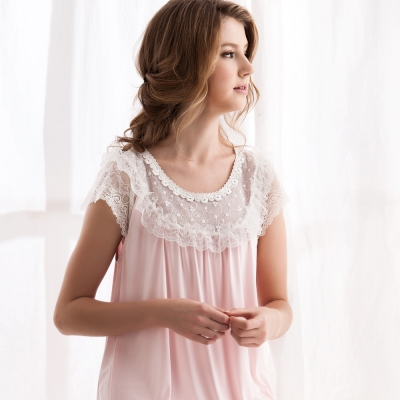 羅絲美睡衣 - 優雅公主短袖褲裝睡衣 (淺粉膚)