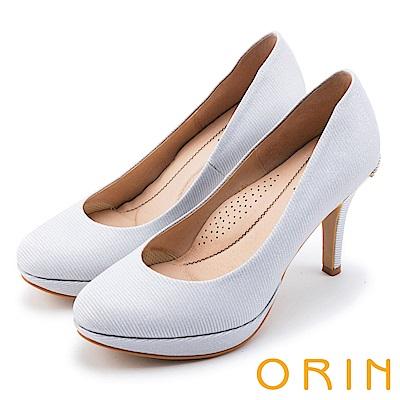 ORIN 晚宴婚嫁首選 後跟金屬鑽飾典雅高跟鞋-白色