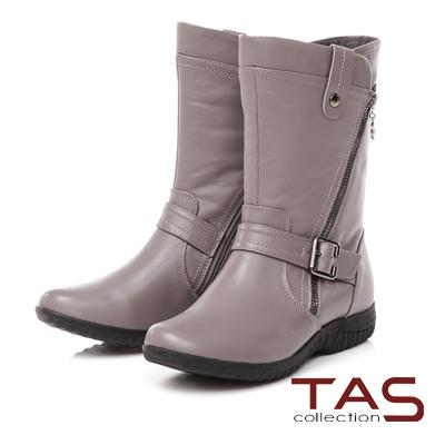 TAS 層次雙側斜拉鍊皮帶扣工程靴-中性灰