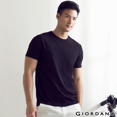 GIORDANO-男裝G-COOL涼感吸濕排汗圓領TEE-09-標誌黑