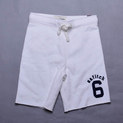 A&F Abercrombie & Fitch數字6貼布舒適小孩鋪棉短褲-白