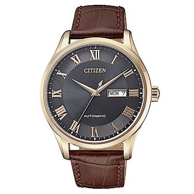 CITIZEN星辰 極品紳士皮帶機械腕錶(NH8363-14H)- 灰/41mm