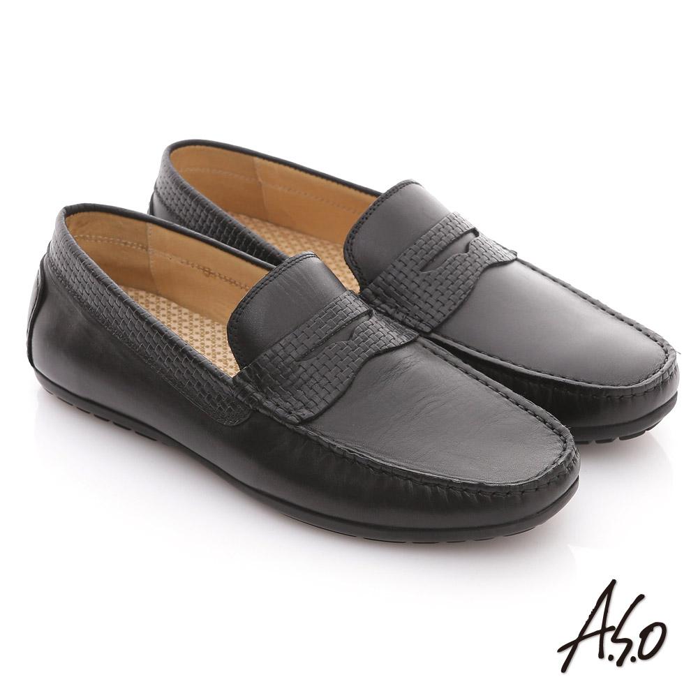 A.S.O 樂活休閒 壓紋牛皮縫線包仔鞋 黑色