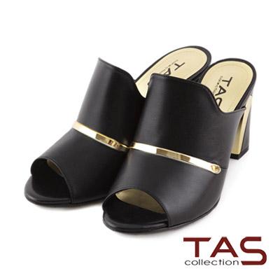 TAS-素面滾邊一字金屬粗跟涼拖鞋-簡約黑