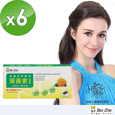BeeZin康萃 瑞莎代言 美國專利葉黃素軟膠囊x6盒(30粒/盒 )