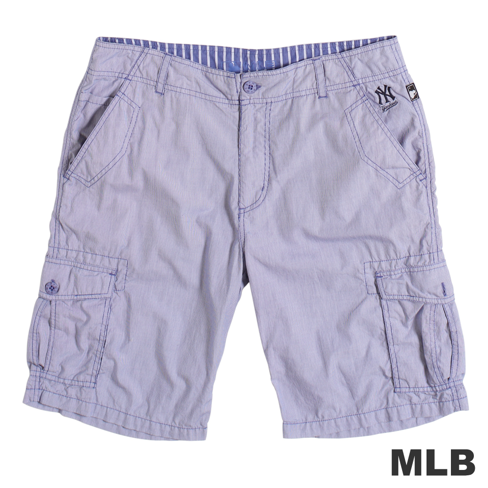 MLB-紐約洋基隊直紋休閒短褲-藍(男)