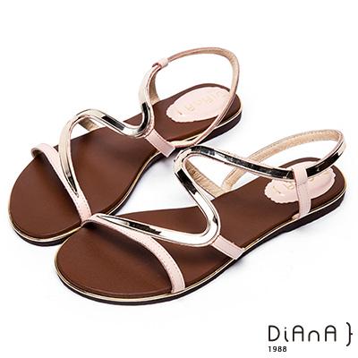 DIANA 簡約韓風--金屬S曲線細帶平底涼鞋 –粉